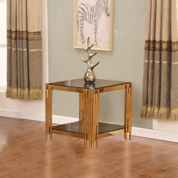 Best Quality Furniture Square Glass Top End Table