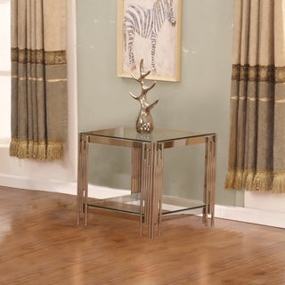 Best Quality Furniture Square Glass Top End Table (Silver - Stainless Steel Finish)