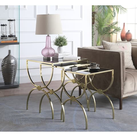 Chic Home Palyn Side Table 3 Piece Set Gold Finished Hourglass Frame Black Glass Top