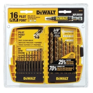 DeWalt Pilot Point Ferrous Oxide Multi Size in. Dia. Drill Bit Set 16 pc.