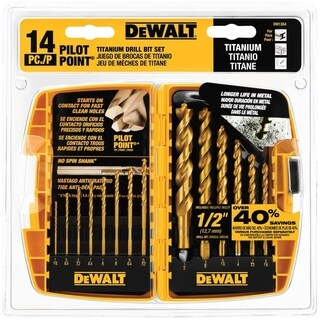 DeWalt Pilot Point Titanium Multi Size in. Dia. Drill Bit Set 14 pc.