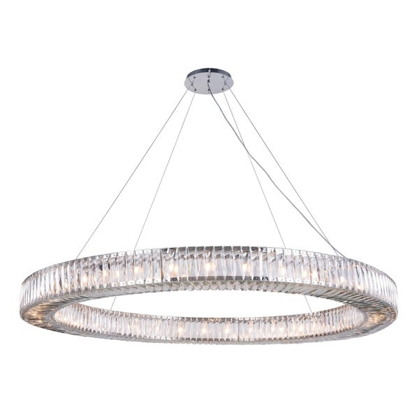 Fleur Illumination Collection Chrome-finished Stainless Steel/Glass Chandelier With Royal Cut Crystals