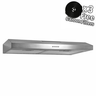 "AKDY RH336 30"" Under Cabinet Stainless Steel Push Panel Kitchen Range Hood Cooking Fan w/ Carbon Filters"