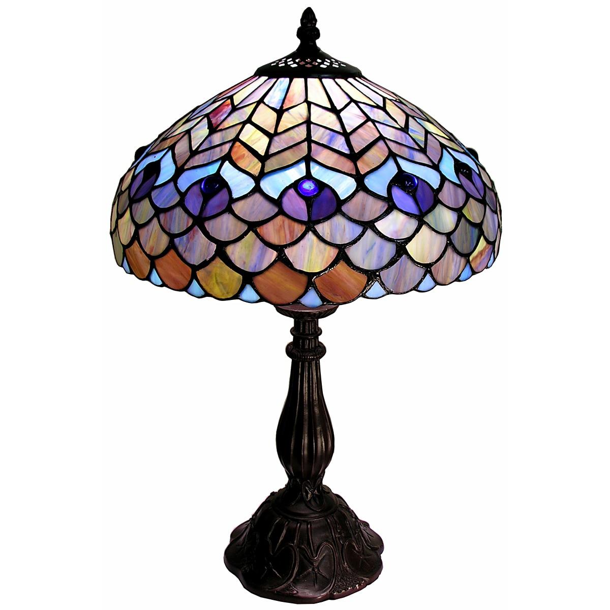 Warehouse of Tiffany Tiffany-style Peacock Table Lamp, Bl...