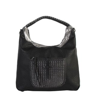 Diophy Front Woven with Stud Pocket Large Hobo Bag - L