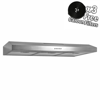 "AKDY RH0339 36"" Under Cabinet Stainless Steel Push Panel Kitchen Range Hood Cooking Fan w/ Carbon Filters"