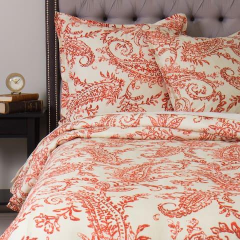 Sierra Orange Linen Duvet Cover