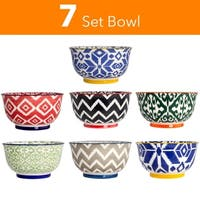 High Quality Large 6 Inch Ceramic Cereal Soup Pasta Bowl Set - 7 Pcs. Ceramic Bowls