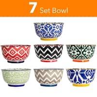 High Quality Large 6 Inch Ceramic Cereal Soup Pasta Bowl Set - 7 Pcs. Ceramic Bowls