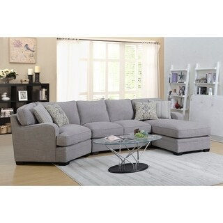 Emerald Home Analiese Linen Gray Chofa Sectional, with Pillows, Track Arms, Welt Seaming, And Block Feet
