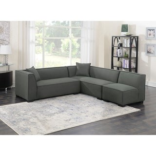 Emerald Home Lonnie Cinder Gray Modular Sectional, with Pillows, Minimalist Lines And Block Feet