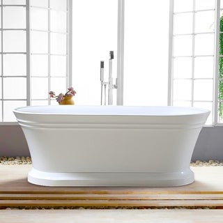 Vanity Art 67 Inch free standing white acrylic soaking bathtub with chrome overflow and pop-up drain.