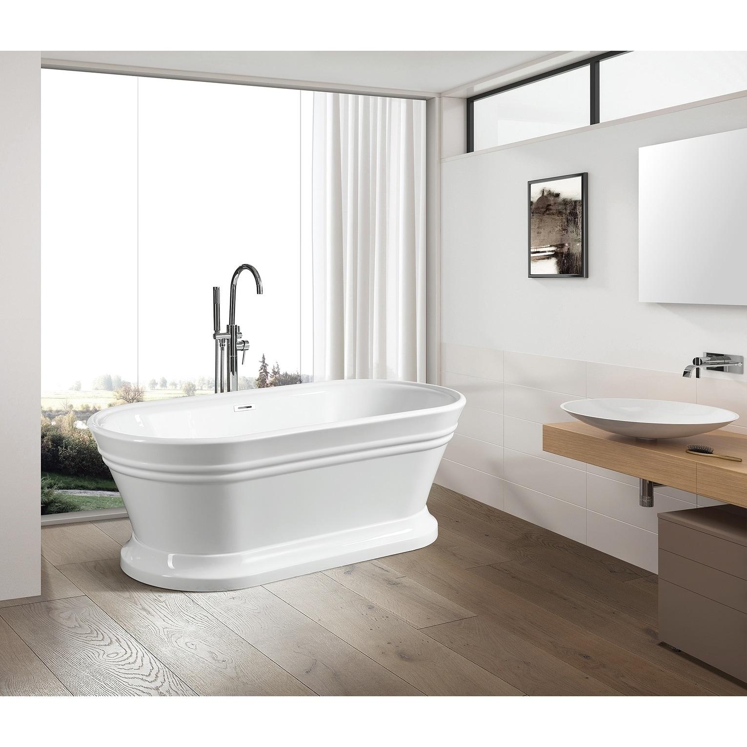 Vanity Art 59 Freestanding White Acrylic Bathtub Modern Stand Alone Soaking Tub With Polished Chrome Overflow Pop Up Drain