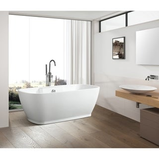 Vanity Art 59 Inch free standing white acrylic soaking bathtub with chrome overflow and pop-up drain.