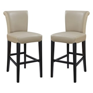 Emerald Home Briar III 30 Inch Bar Height Faux Leather Curved Back Bar Stool (Set of 2)