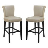 "Emerald Home Briar III Wheat Grass 30"" Bar Stool with Faux Leather Upholstery And Curved Back, Set of Two"