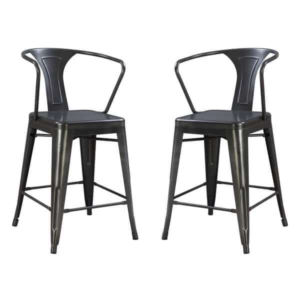 Admirable Emerald Home Dakota Iii Gunmetal Gray 24 Bar Stool With Solid Metal Seat Back And Legs Set Of Two Pabps2019 Chair Design Images Pabps2019Com