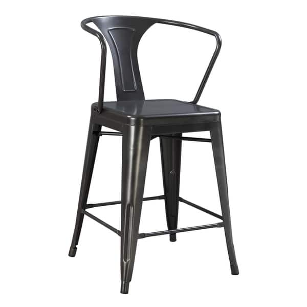 Stupendous Emerald Home Dakota Iii Gunmetal Gray 24 Bar Stool With Solid Metal Seat Back And Legs Set Of Two Pabps2019 Chair Design Images Pabps2019Com