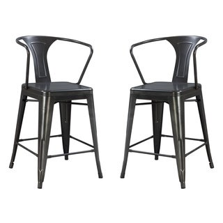 "Emerald Home Dakota gunmetal gray 24"" bar stool D131-24-2PK-K (Set of 2)"