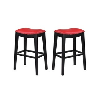 "Emerald Home Briar traditional red 30"" bar stool D107-30-02-2PK-K (Set of 2) (3 options available)"