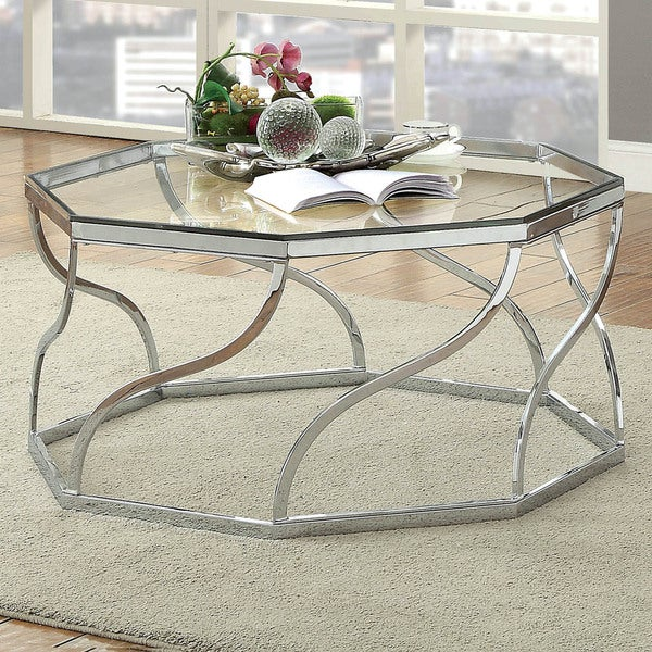 Furniture of America Kofu Contemporary Chrome Metal Coffee Table