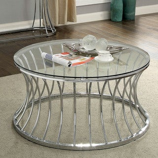 Furniture of America Laud Contemporary Chrome Metal Round Coffee Table