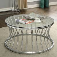 Breckenwald Contemporary Chrome Round Coffee Table by FOA