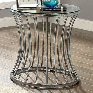 Breckenwald Contemporary Chrome Round End Table by FOA