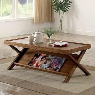Furniture of America Montecito Rustic Light Oak Coffee Table with Magazine Shelf