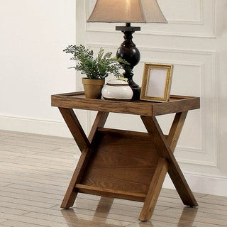 Furniture of America Montecito Rustic Light Oak End Table with Magazine Rack