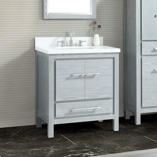 Azzuri Riley 31 in. Vanity Combo in White with Gray Quartz Top
