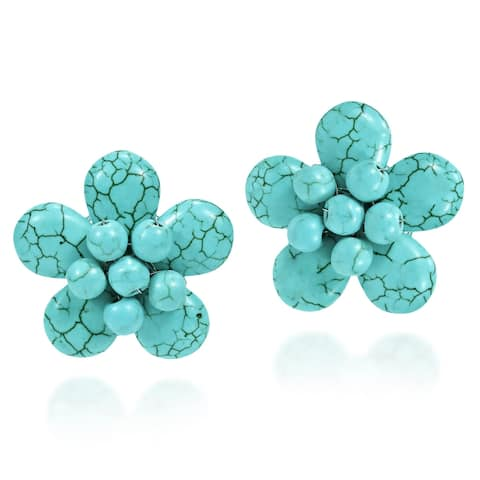 Handmade Exotic Blue Turquoise Flower Clip on Earrings (Thailand)