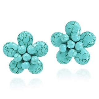 Link to Handmade Exotic Blue Turquoise Flower Clip on Earrings (Thailand) Similar Items in Earrings
