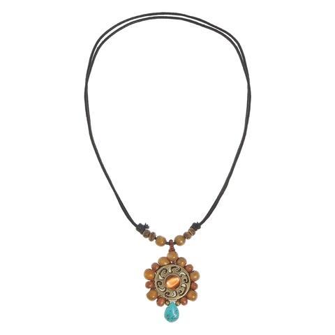 Boho Charm Turquoise and Wood Bead Adjustable Necklace (Thailand)