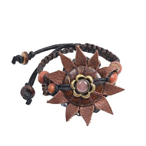 Handmade Leather Sunflower Wooden Bead Accents Adjustable Bracelet (Thailand)