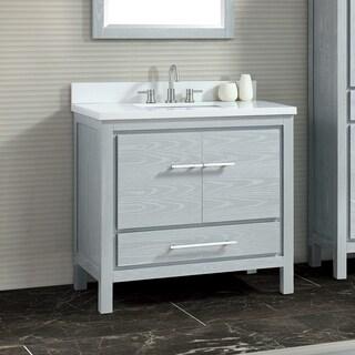 Azzuri Riley 37 in. Vanity Combo in White with Gray Quartz Top