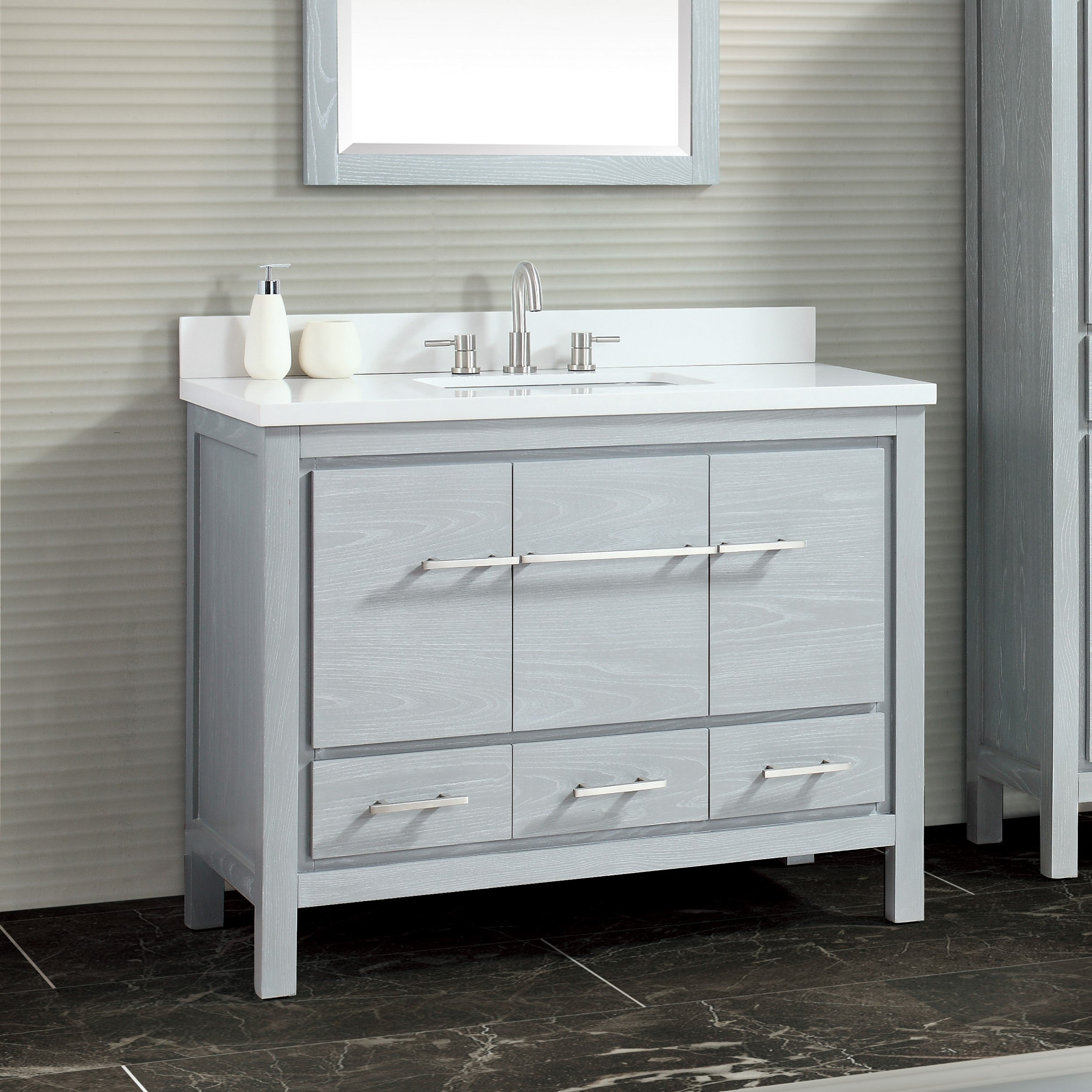 Azzuri Riley 43 In Bathroom Vanity With Quartz Top And Sink Overstock 20351855