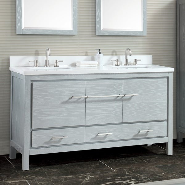 Azzuri Riley 61 in. Bathroom Vanity Set with Quartz Top and Sinks
