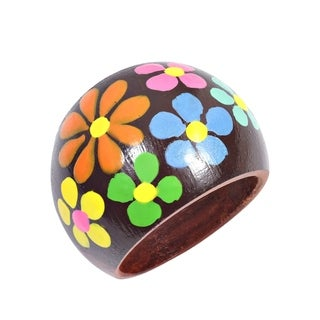Colorful Daisy Blossoms Hand Painted Dome Wooden Ring (Thailand) (3 options available)