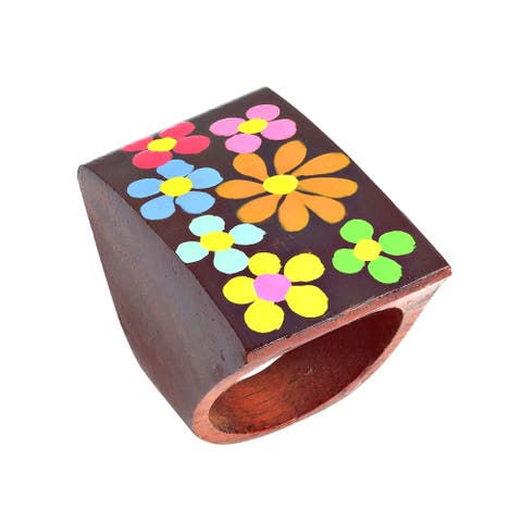 Colorful Daisy Blossoms Hand Painted Square Wooden Ring (Thailand)