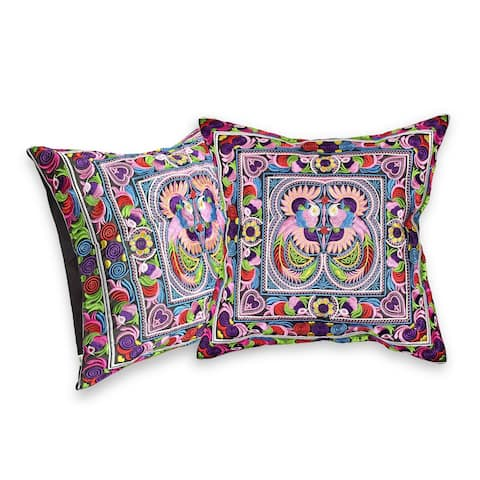 Handmade Embroidered Birds in the Garden Tropical Floral Throw Pillow Cover Set (Thailand)