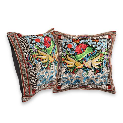 Handmade Goldfish in a Lotus Pond Embroidered Floral Throw Pillow Cover Set (India)