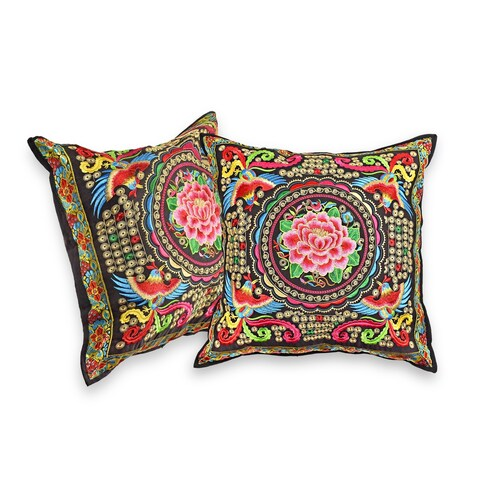 Handmade Birds and Peony Hilltribe Embroidery Floral Throw Pillow Cover Set (Thailand)