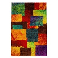 The Curated Nomad Vesuvio Multicolor Checkerboard Shag Rug - 7'7 x 10'5