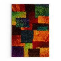 "The Curated Nomad Vesuvio Multicolor Checkerboard Shag Rug - 3'9"" x 5'6"""