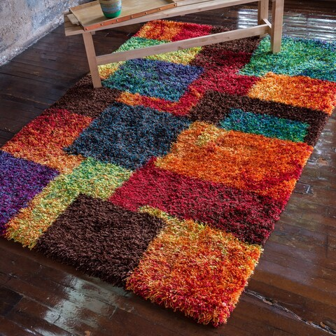 "The Curated Nomad Vesuvio Multicolor Checkerboard Shag Rug - 5'2"" x 7'7"""