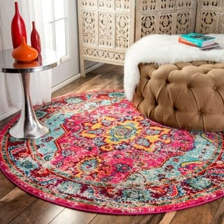 Buy area rugs online at overstock our best rugs deals the curated nomad beulah abstract vintage oriental rug 5 3 round mightylinksfo