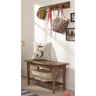 Pine Canopy Glacier Wood And Metal Wall Coat Hook with Bench Set