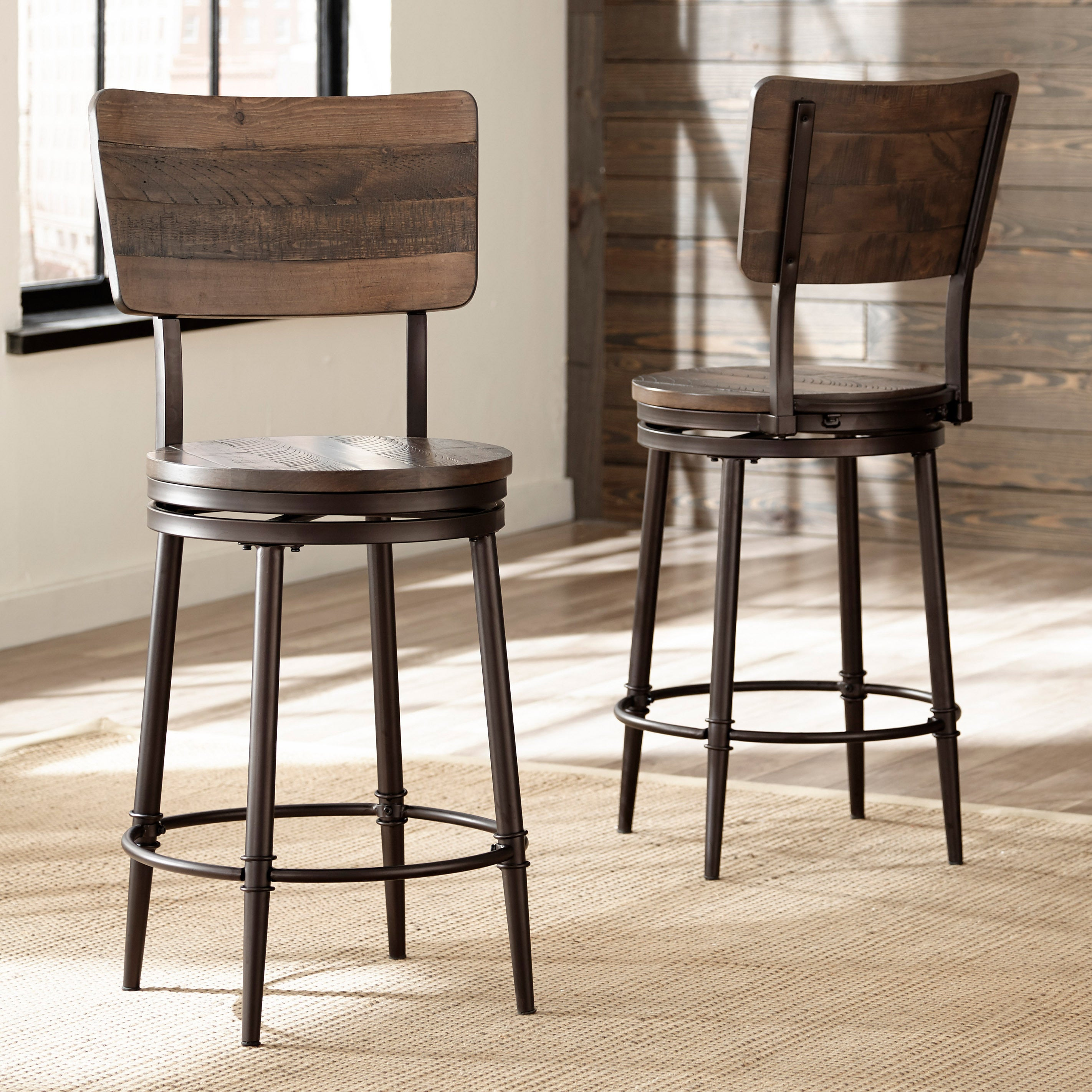 Etonnant Carbon Loft Nicolet Distressed Walnut Swivel Counter Stool