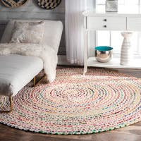 The Curated Nomad Grove Handmade Braided Ivory Rug - 8' Round
